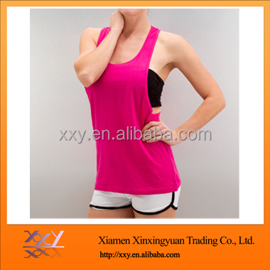 2016 Wholesale custom plain 100 cotton women gym yoga workout loose tank tops
