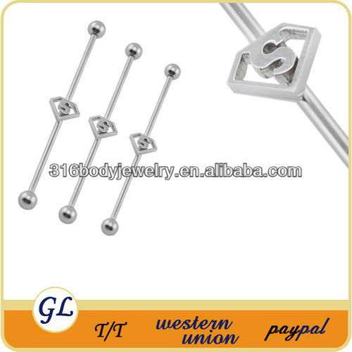 fashion stainless steel industrial piercing barbells