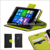 Black and Green PU Leather Wallet Stand Case Cover for Nokia Lumia 1020