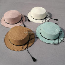 cheap paper straw boater hat custom kids straw hat with bowknot