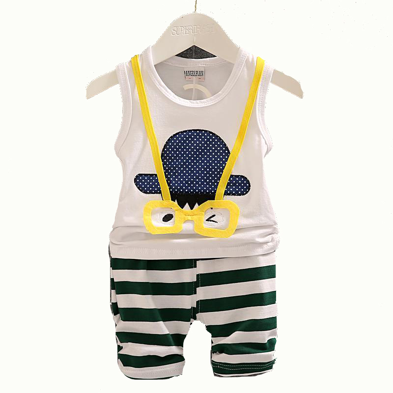 2015 Baby Boy Summer Clothing Set Vest + Shorts Kid Boy Summer Set Clothes Suit Cartoon Striped Pants