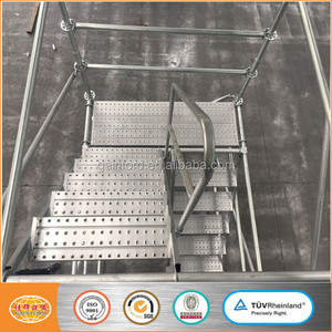 Steel construction ringlock scaffolding with catwalk and stair case