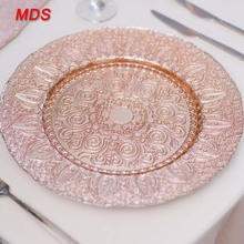 Fancy cheap glass charger plate for wedding decoration gold