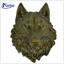 customized brass casting wolf wall decoration bronze animal head sculpture for sale NT-BS177D