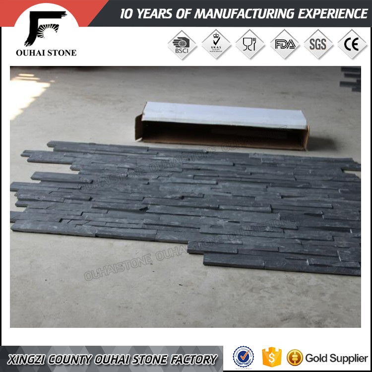 Decorative black ledge stacked culture wall cladding slate stone durable