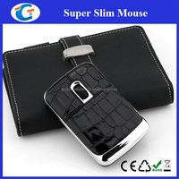 Super Ultra Slim Thin Flat Computer Laptop Mouse With PU Leather Surface