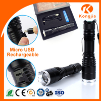 Aluminum Zoom 18650 Rechargeable or AAA Battery Emergency High Power 800 Lumen 10W 5Modes Led Flashlight