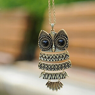 x293 1pcs   Jewelry, Ancient Bronze Owl pendant  Necklace,  gem Ancient the Owl Sweater Chain