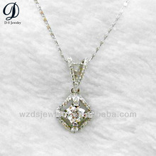 Real sterling silver cz pave jewelry synthetic diamond pendant