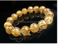 Natural Brazil Gold Titanium Rutile Quartz Powerful Beaded Bracelet