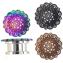 316l Surgical Steel With Rainbow&Black&Rose Gold Flower Ear Flesh Tunnel Screw Fit Ear Plugs Gauges Expander Stretcher Piercing