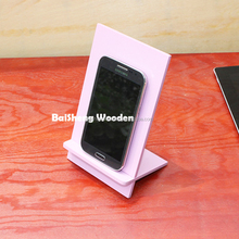 Creative mobile phone display stand tablet computer holder square shaped wooden