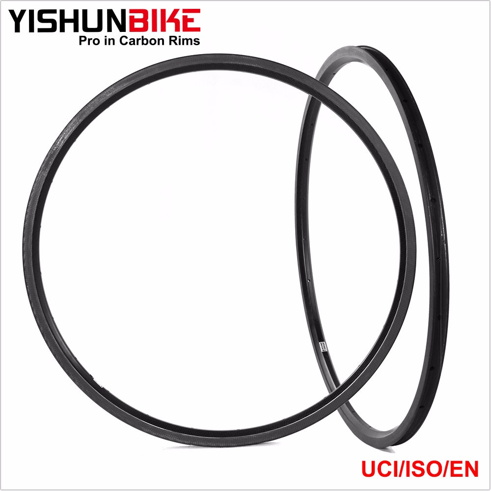 2016 YISHUNBIKE Rim Wheel Rims 700C 50mm Tubeless Ready Clincher HTG Carbon