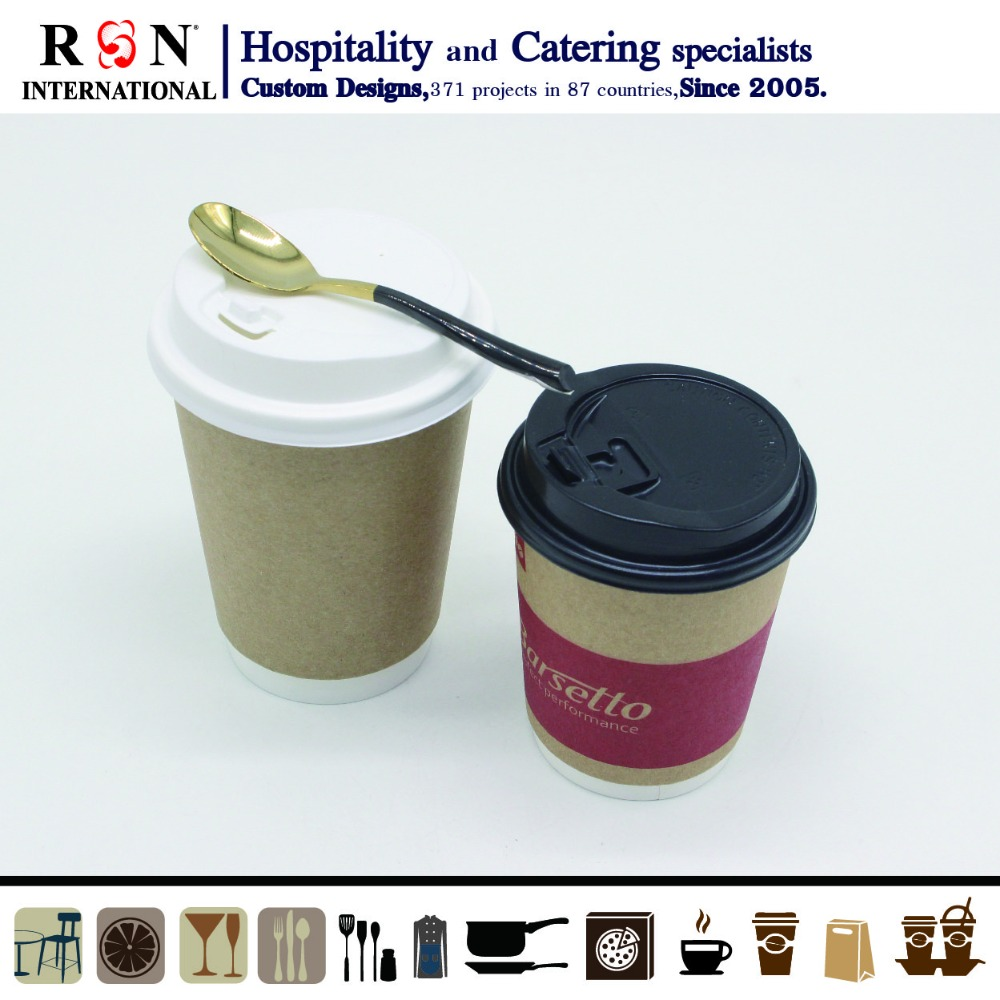 Eco-friendly disposable brown kraft double wall paper cups with sleeves and lids for coffee shop