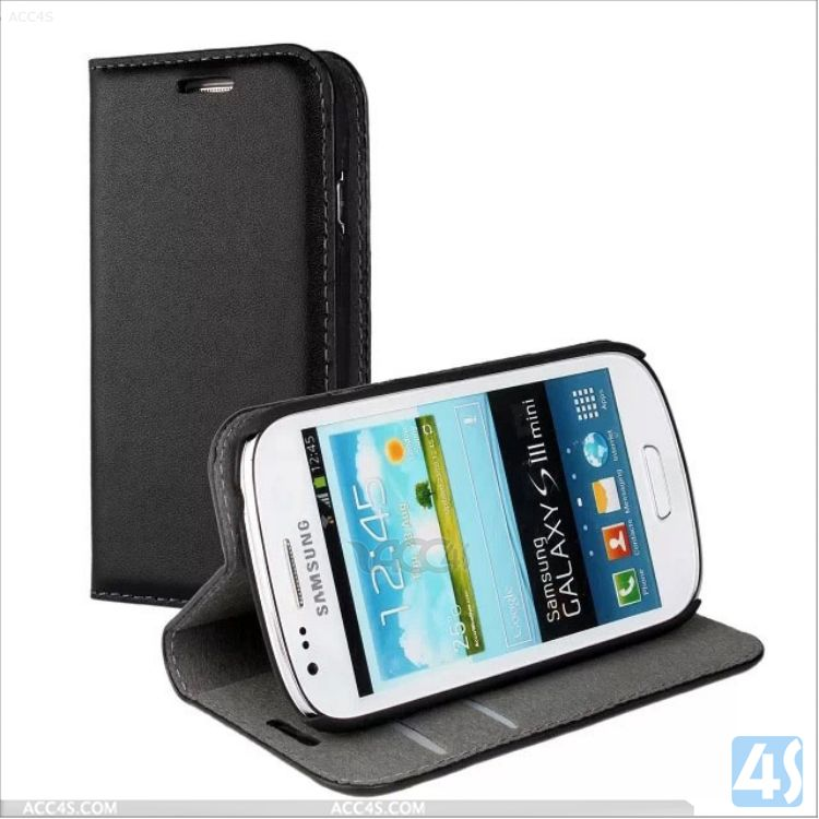 Mobile Phone Accessory Stand Wallet Genuine Leather Flip Cover for Samsung S3 Mini Case P-SAMI8190SPCA001