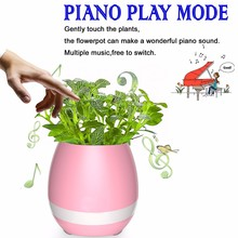 New Plastic flower pot Bluetooth led speaker smart flower pot mini speaker music flower pot for Office and Home
