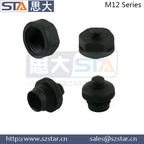 M12 female and male plug and socket dust caps waterproof IP67