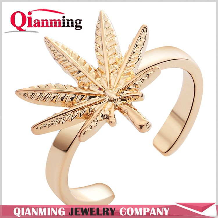 Genuine Solid Natural Inspired Delicate Maple Leaf Open Band Ring Adjustable Size Finger Ring Classic Jewelry