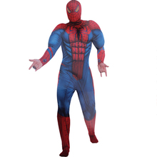 3D Design Spiderman Muscle Costume Adult Fancy Dress Superhero Spiderman Cosplay Halloween Christmas Costume For Men Q1059