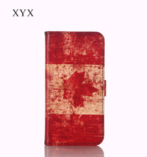 new products OEM&ODM custom Canada country flag printing leather case flip back cover for blackberry z3