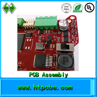 SMT PCB Assembly, Red Solder Mask PCBA, Custom PCBA