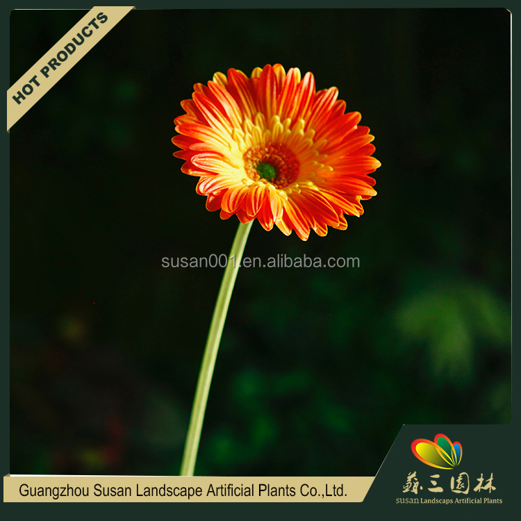 Best price custom printed decorative PU artificial gerbera plants flower sale india for garden indoor shops