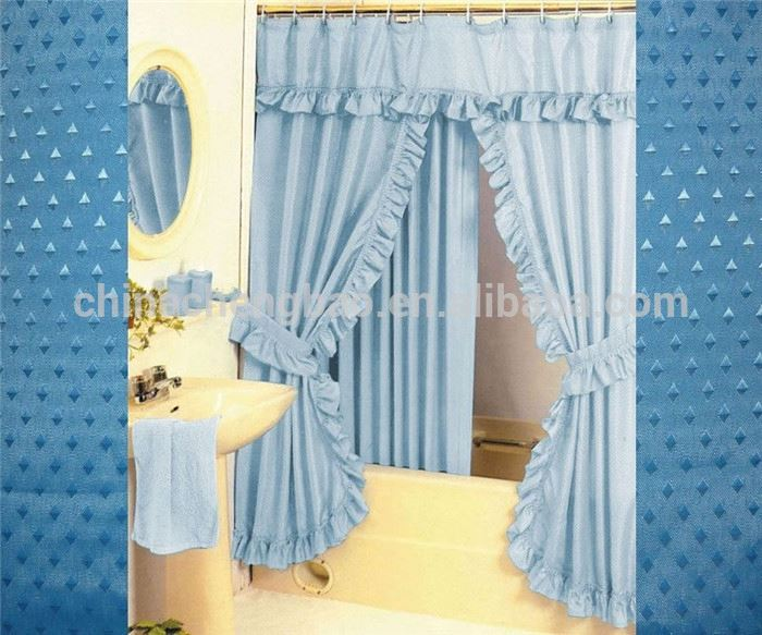 double swag lace shower curtain with valance