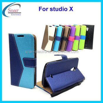 New design mix color wallet leather case for Blu studio X,triangle pattern case flip magnetic case for Blu studio X