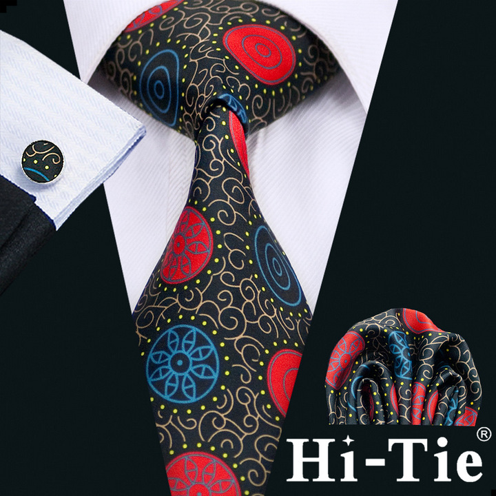 Hi-Tie Classic Novelty Blue and Red Wholesale Silk Men Tie SetB-1274