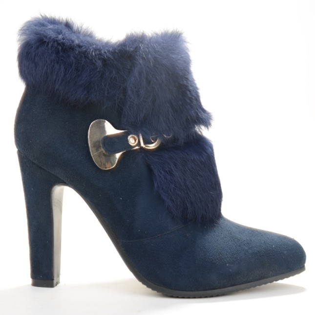 Get Quotations · Blue Winter Faux Fur Heels Boots For Women Buckle Closed  Pointed Toe Ankle Length High Boots 47611e39f114