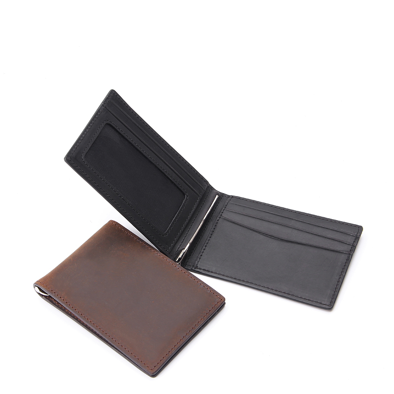 Men's Cowboy Genuine Natural Crazy Horse Leather Bifold Wallet