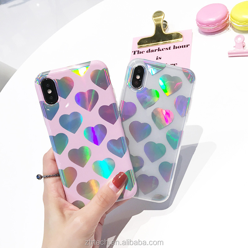 Fashion Laser Rainbow Love Hearts Phone Case For iPhone x 7 6 8 7plus 6plus Transparent Soft TPU Back Cover Cases Coque