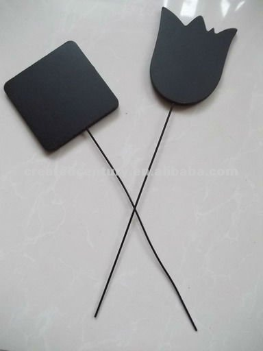 Natural slate gardening plant marker with iron wire stick