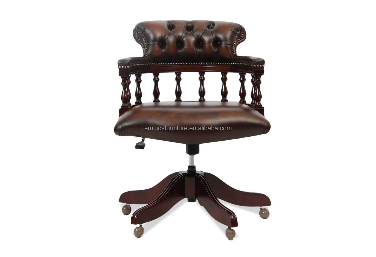 Chesterfield Captains Adjustable Swivel Leather Chair