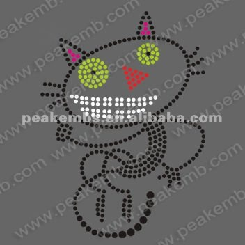 Bling Funny Cat Halloween Design Rhinestone Iron On Crystal Transfers