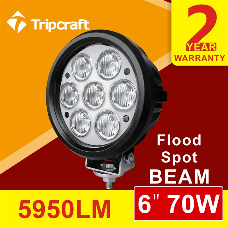 super bright waterproof IP67 7*10w 70w led work light for car led headlamp,led offroad light