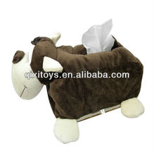 cow shaped square plush tissue box/animal shaped tissue holder