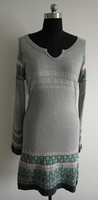 ladies' fitted jacquard knit dress sweater