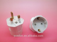 Travel Adaptor Europe Socket 2 pin Shuko to UK / Commonwealth 3 pin mains plug