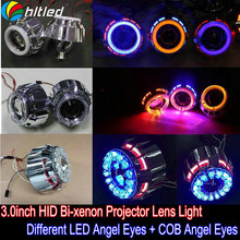 3.0'' Angel devil eyes xenon light / 3.0 HID xenon light with LED angel eyes and led devil eyes