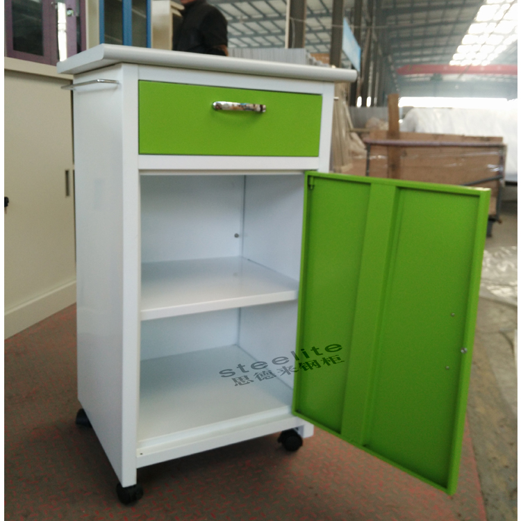 green color hospital bed table with drawer