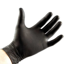 glove powdered with comstarch talc strong and durable glove black vinyl glove