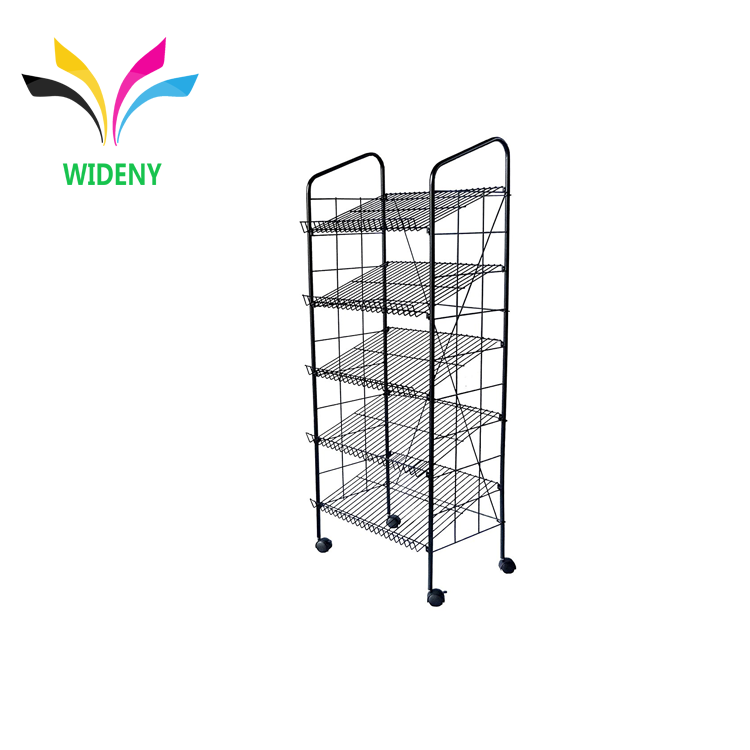 Custom iron wire metal food display rack with wheels for beverages drinks stand