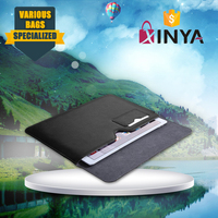 Durable magnetic closure leather tablet sleeve case with document pocket