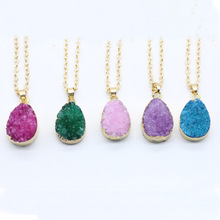 Fashion Druzy Quartz Natural Stone Raw Stone Women Necklace Gold Plated Crystal Pendant Necklace