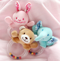 Plush Animal Toy With plastic baby rattle,Baby Rattle Toy