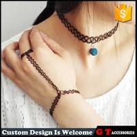 2015 fashion black color fake tattoo necklace with crystal beads, chunky tattoo necklace for girl