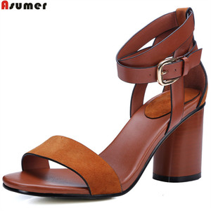 summer 2018 leather lady sandal high heel woman sandals