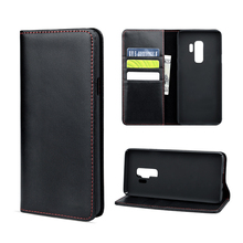 Flip luxury genuine leather phone case cover for Samsung S9