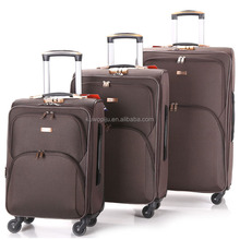 coffee color cheap polyester 600D 4 wheeled travel luggage EVA lightweight soft side 3 set of trolley bag luggage